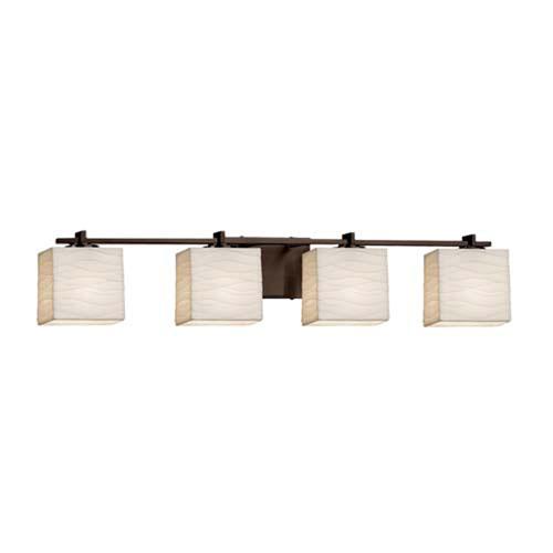 Porcelina - Era Polished Chrome Four-Light Bath Bar with Rectangle Waves Shade