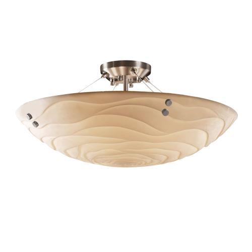 Porcelina Brushed Nickel Six-Light LED Semi-Flush Mount