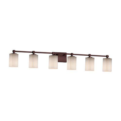 Limoges - Tetra Polished Chrome Six-Light LED Bath Bar with Cylinder Flat Rim Pleats Shade
