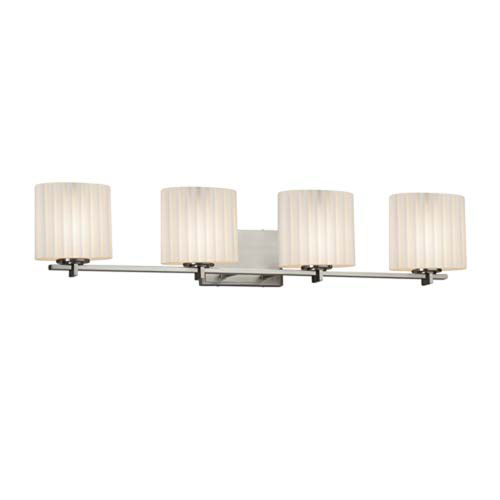 Limoges - Era Brushed Nickel Four-Light Bath Bar with Oval Pleats Shade