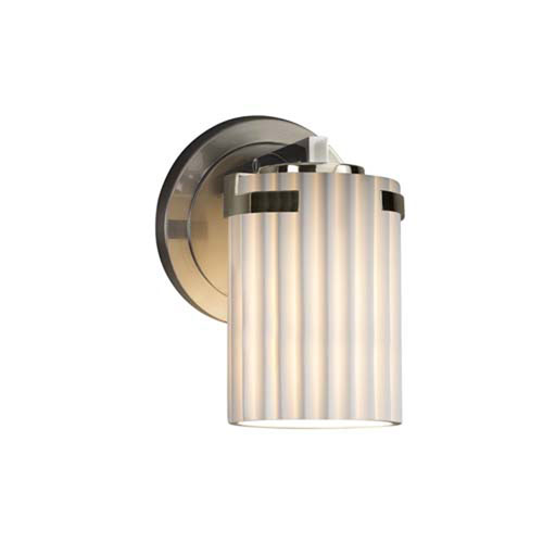 Limoges - Atlas Brushed Nickel One-Light Wall Sconce with Cylinder Flat Rim Pleats Shade
