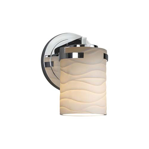 Limoges - Atlas Polished Chrome LED LED Wall Sconce with Cylinder Flat Rim Waves Shade