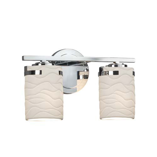 Limoges - Atlas Polished Chrome Two-Light LED Bath Bar with Cylinder Flat Rim Waves Shade