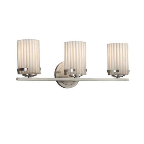 Limoges - Atlas Brushed Nickel Three-Light LED Bath Bar with Cylinder Flat Rim Pleats Shade