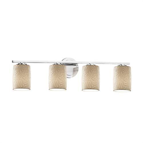 Limoges - Atlas Polished Chrome Four-Light LED Bath Bar with Cylinder Flat Rim Bamboo Shade