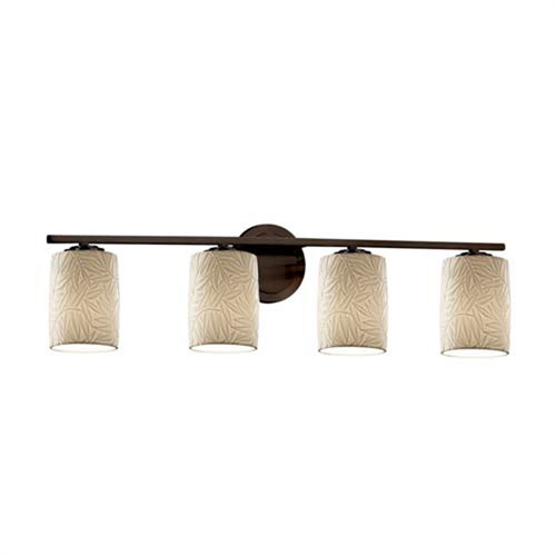 Limoges - Atlas Dark Bronze Four-Light LED Bath Bar with Cylinder Flat Rim Bamboo Shade