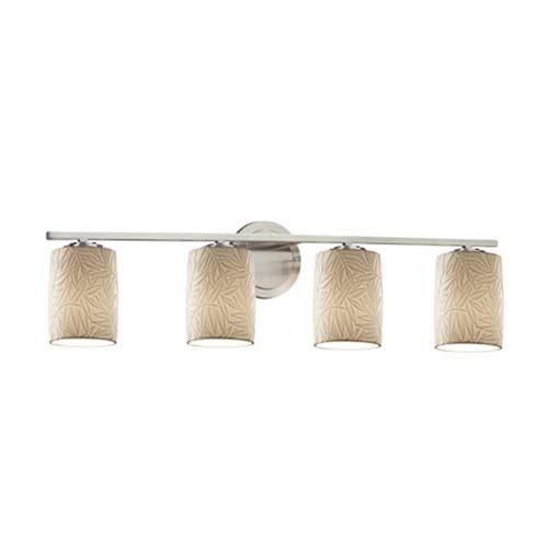 Limoges - Atlas Brushed Nickel Four-Light Bath Bar with Cylinder Flat Rim Bamboo Shade