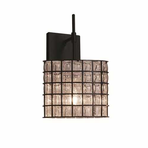 Wire Glass Matte Black One-Light Union Wall Sconce