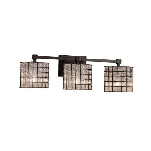 Wire Glass Tetra Matte Black Three-Light Bath Vanity