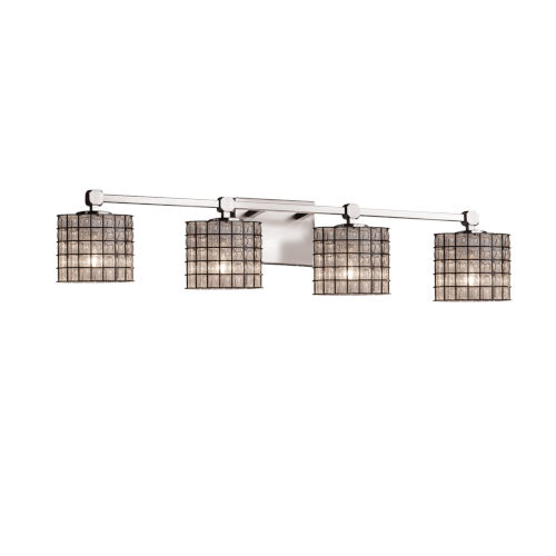 Wire Glass Tetra Brushed Nickel Four-Light Bath Vanity