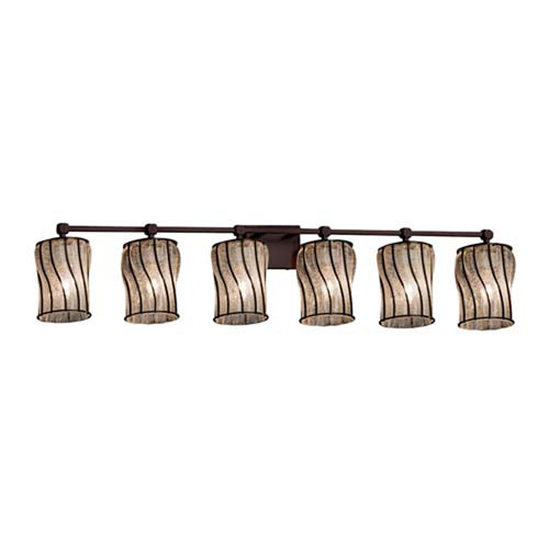 Wire Glass - Tetra Dark Bronze Six-Light Bath Bar with Cylinder Flat Rim Swirl with Clear Bubbles Shade