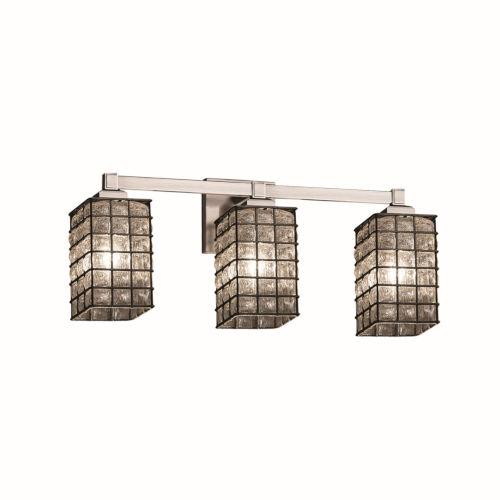 Wire Glass Regency Brushed Nickel Three-Light LED Bath Vanity
