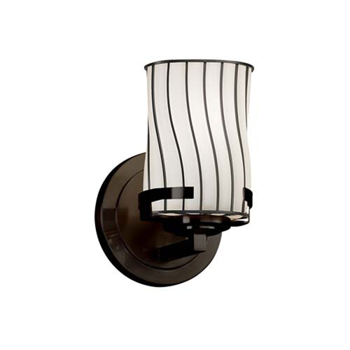 Wire Glass - Atlas Dark Bronze LED LED Wall Sconce with Cylinder Flat Rim Swirl with Opal Shade