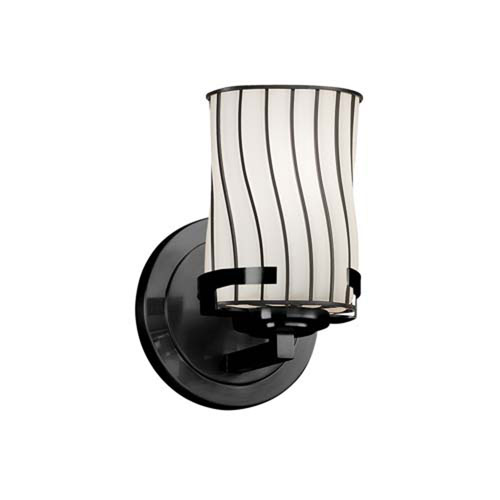 Wire Glass - Atlas Matte Black LED LED Wall Sconce with Cylinder Flat Rim Swirl with Opal Shade