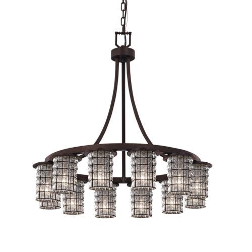 Wire Glass Dark Bronze 12-Light Chandelier