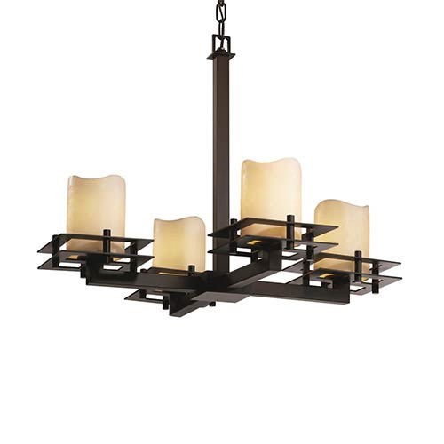 CandleAria Matte Black Four-Light Melted Rim Cylinder Chandelier with Cream Shade