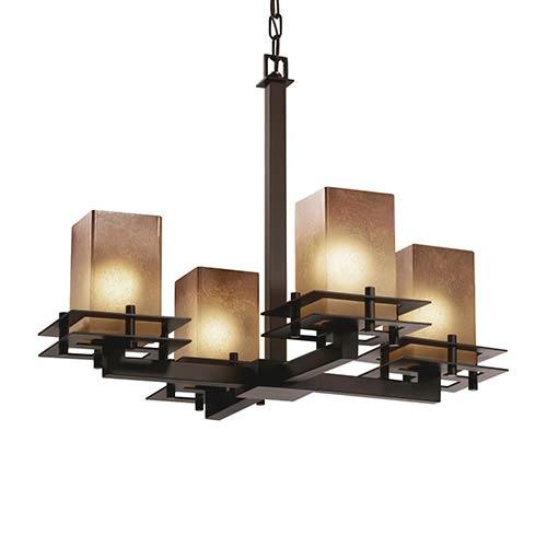 Justice Design Group Fusion Dark Bronze Four-Light Flat Rim Square Chandelier with Caramel Glass