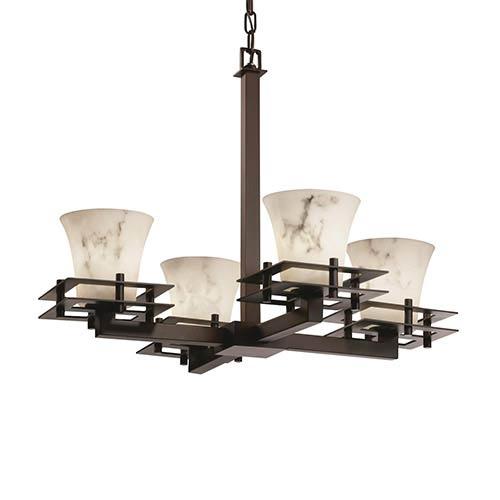 Justice Design Group LumenAria Dark Bronze Four-Light Round Flared Chandelier