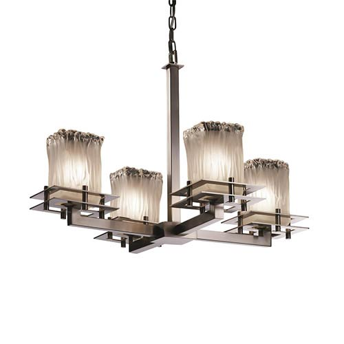 Veneto Luce Brushed Nickel Four-Light Rippled Rim Square Chandelier with White Frosted Glass