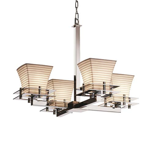 Justice Design Group Limoges Polished Chrome Four-Light Square Flared Chandelier with Sawtooth Shade