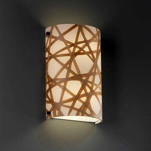 Justice Design Group 3Form Dark Bronze Two-Light Fluorescent Cylindrical Wall Sconce with Connection Shade