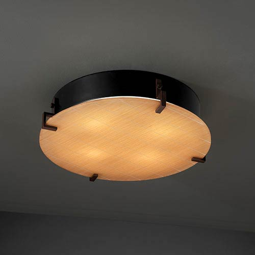Justice Design Group 3Form Dark Bronze Four-Light Fluorescent 16-Inch Round Clips Wall Sconce with Take Shade