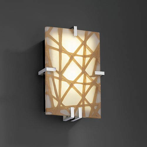 Justice Design Group 3Form Polished Chrome Two-Light Fluorescent Clips Rectangle Wall Sconce with Connection Shade