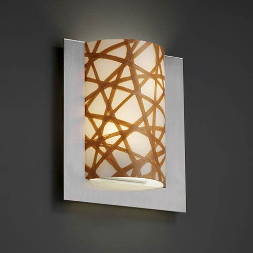 3Form Brushed Nickel Two-Light Fluorescent Framed Rectangle Three-Sided Wall Sconce with Connection Shade