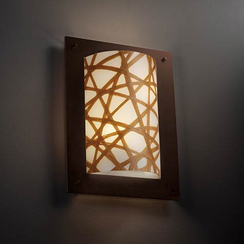 Justice Design Group 3Form Dark Bronze Two-Light Fluorescent Framed Rectangle Four-Sided Wall Sconce with Connection Shade