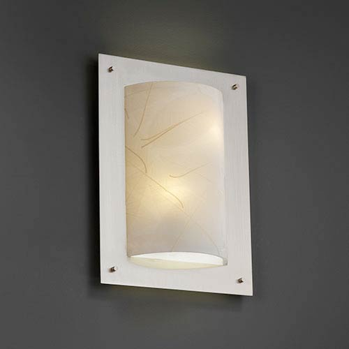 3Form Brushed Nickel Two-Light Fluorescent Framed Rectangle Four-Sided Wall Sconce with Fossil Leaf Shade