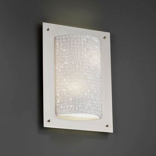 3Form Brushed Nickel Two-Light Fluorescent Framed Rectangle Four-Sided Wall Sconce with Small Tile Shade
