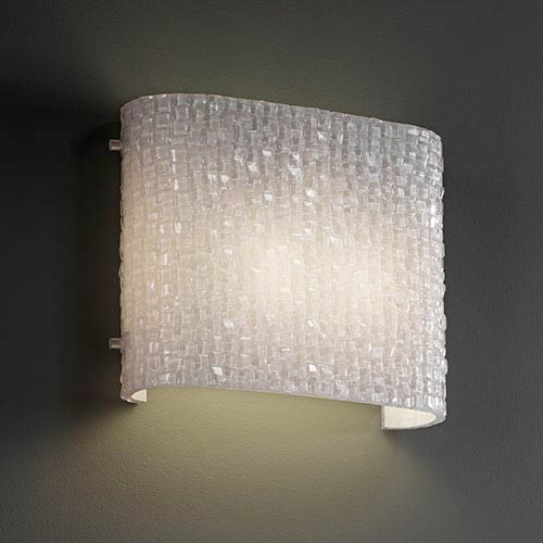 Justice Design Group 3Form Brushed Nickel Two-Light Fluorescent Oval Wall Sconce with Small Tile Shade