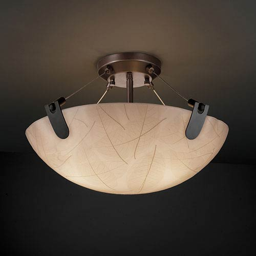 3Form Matte Black 27-Inch Wide Six-Light Fluorescent Semi-Flush Bowl with U-Clips and Take Shade