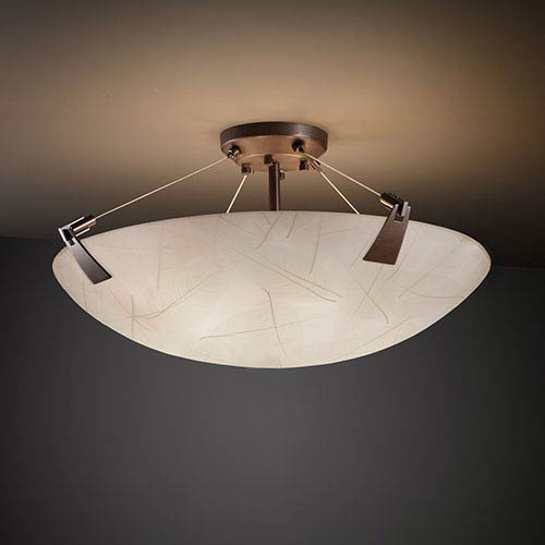 3Form Dark Bronze 27-Inch Wide Fluorescent Six-Light Semi-Flush Bowl with Tapered Clips and Fossil Leaf Shade