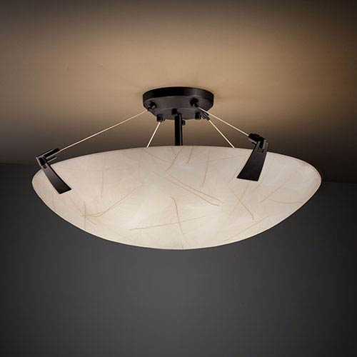 Justice Design Group 3Form Matte Black 27-Inch Wide Six-Light Fluorescent Semi-Flush Bowl with Tapered Clips and Fossil Leaf