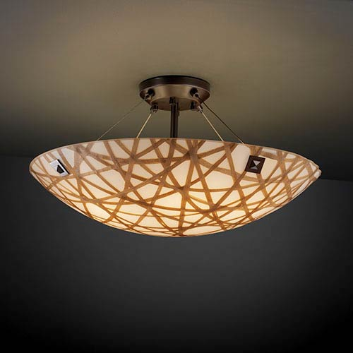 Justice Design Group 3Form Dark Bronze 27-Inch Wide Fluorescent Six-Light Semi-Flush Bowl with Connection Shade