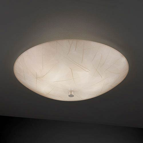 Justice Design Group 3Form Polished Chrome 24-Inch Wide Fluorescent Six-Light Semi-Flush Bowl with Fossil Leaf Shade