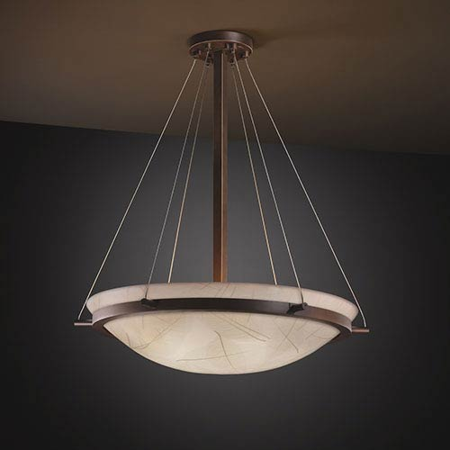 Justice Design Group 3Form Dark Bronze 27-Inch Wide Fluorescent Six-Light Round Bowl Pendant with Ring and Fossil Leaf Shade
