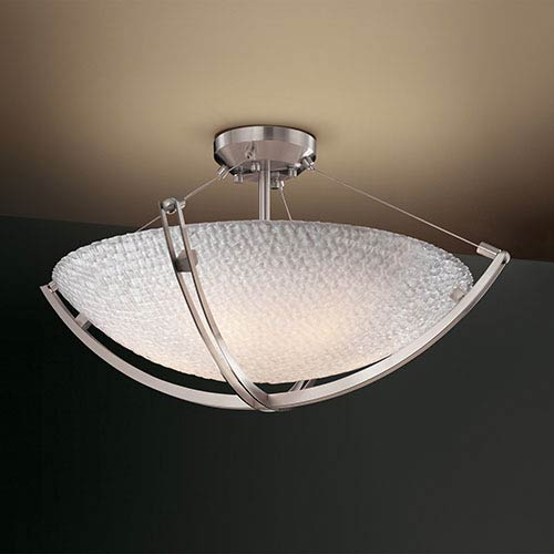 3Form Brushed Nickel 28-Inch Wide Fluorescent Six-Light Semi-Flush Bowl with Crossbar and Small Tile Shade