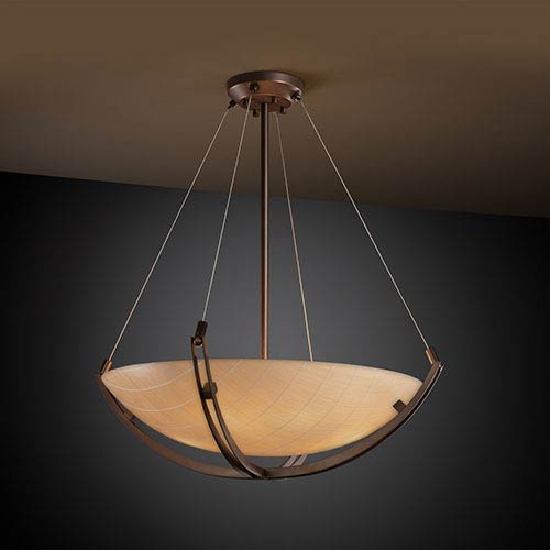 Justice Design Group 3Form Dark Bronze Fluorescent Six-Light 28-Inch Wide Bowl Pendant with Crossbar and Take Shade