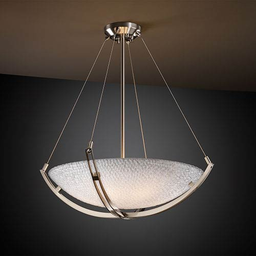 3Form Brushed Nickel 28-Inch Wide LED Bowl Pendant with Crossbar and Small Tile Ecoresin Shade