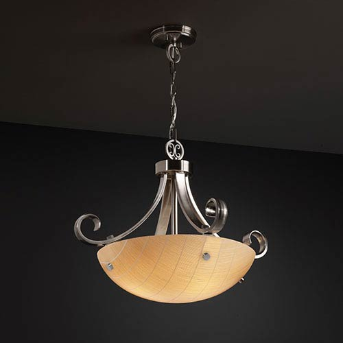 Justice Design Group 3Form Brushed Nickel 24-Inch Wide Three-Light Fluorescent  Bowl Pendant with Take Shade