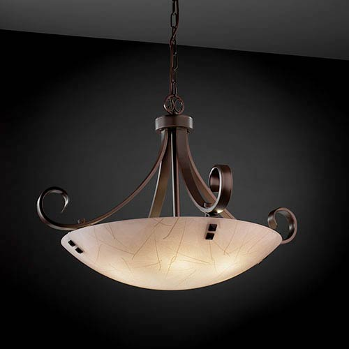 3Form Dark Bronze Fluorescent 31-Inch Wide Six-Light Bowl Pendant with Fossil Leaf Shade