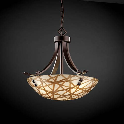 Justice Design Group 3Form Dark Bronze Fluorescent 24-Inch Wide Three-Light Bowl Pendant with Connection Shade