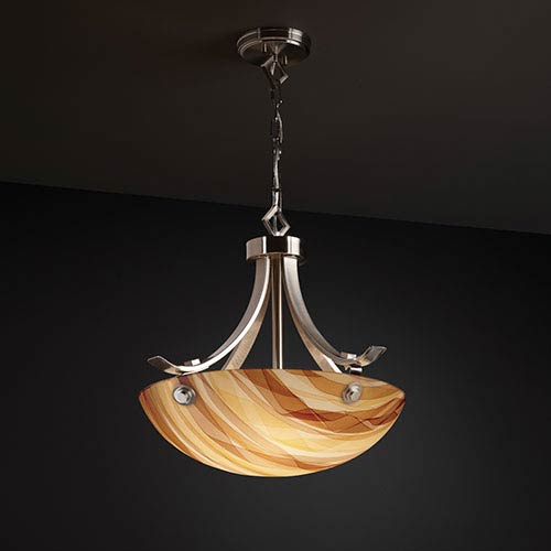 Justice Design Group 3Form Brushed Nickel Fluorescent 24-Inch Wide Three-Light Bowl Pendant with Ribbon Twirl Shade