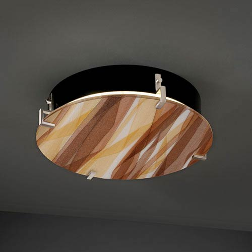 3Form Clips Brushed Nickel Fluorescent 16-Inch Four-Light Round Clips Wall Sconce with Twirl Shade