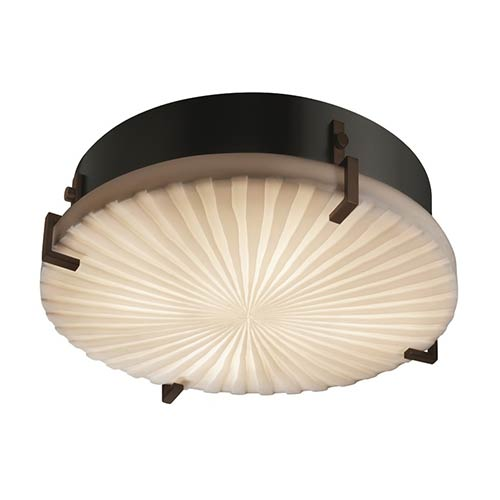 Porcelina Dark Bronze Two-Light 12-Inch Wide Fluorescent Round Clips Flush Mount with Waterfall Shade