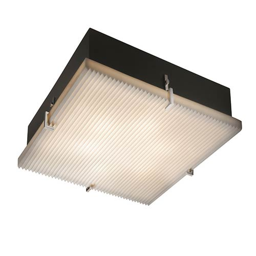 Porcelina Brushed Nickel Two-Light 12-Inch Wide Fluorescent Square Clips Flush Mount with Pleats Shade