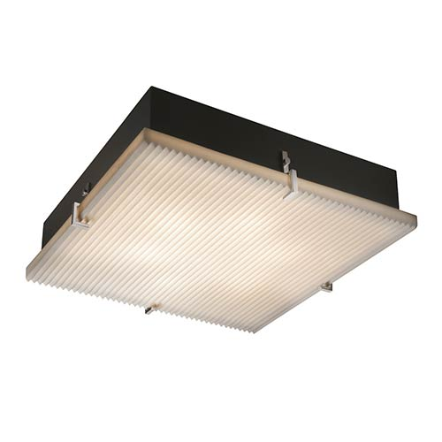 Justice Design Group Porcelina Brushed Nickel Four-Light 16-Inch Wide Fluorescent Square Clips Flush Mount with Pleats Shade