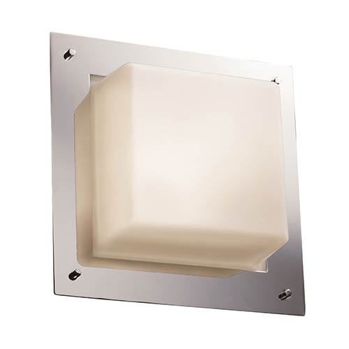 Justice Design Group Fusion Polished Chrome Two-Light 12-Inch Wide Fluorescent Square Framed Flush Mount with Opal Glass